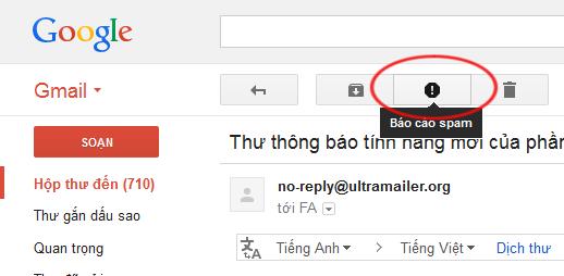 Nút report spam có trên hòm mail
