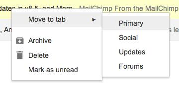 """Giúp email marketing của bạn xuất hiện trong Tab """"Chính"""""""