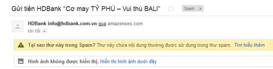 Thư này chứa nội dung thường được sử dụng trong spam